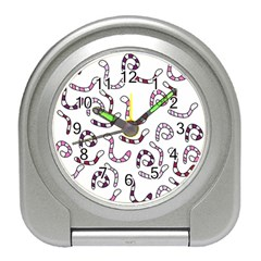 Purple Worms Travel Alarm Clocks by Valentinaart