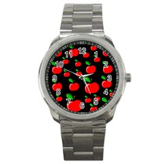 Red Apples  Sport Metal Watch by Valentinaart