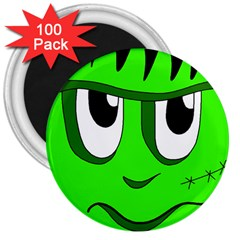 Halloween Frankenstein   Green 3  Magnets (100 Pack) by Valentinaart