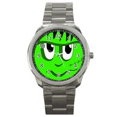 Halloween Frankenstein   Green Sport Metal Watch by Valentinaart