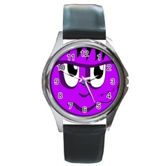 Halloween   Purple Frankenstein Round Metal Watch by Valentinaart