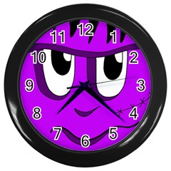 Halloween   Purple Frankenstein Wall Clocks (black) by Valentinaart