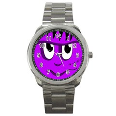 Halloween   Purple Frankenstein Sport Metal Watch by Valentinaart