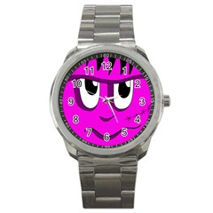 Halloween   Pink Frankenstein Sport Metal Watch by Valentinaart