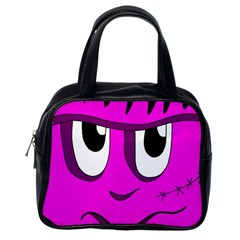 Halloween   Pink Frankenstein Classic Handbags (one Side) by Valentinaart