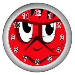 Halloween Frankenstein   Red Wall Clocks (silver)  by Valentinaart