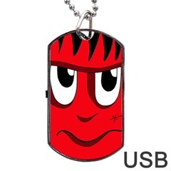Halloween Frankenstein   Red Dog Tag Usb Flash (two Sides)  by Valentinaart