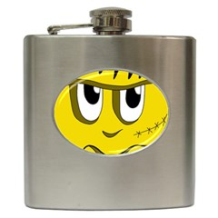 Halloween Frankenstein   Yellow Hip Flask (6 Oz) by Valentinaart