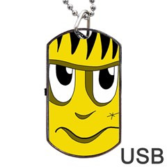 Halloween Frankenstein   Yellow Dog Tag Usb Flash (two Sides)  by Valentinaart