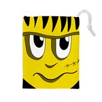Halloween Frankenstein - yellow Drawstring Pouches (Large)  Front