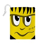 Halloween Frankenstein - yellow Drawstring Pouches (Large)  Back