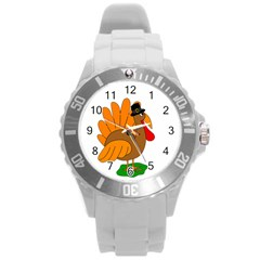 Thanksgiving Turkey   Transparent Round Plastic Sport Watch (l) by Valentinaart