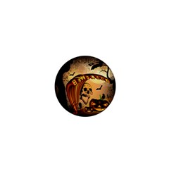 Halloween, Funny Pumpkin With Skull And Spider In The Night 1  Mini Buttons by FantasyWorld7