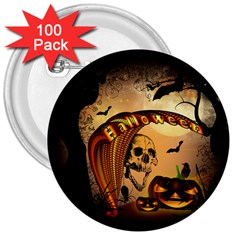 Halloween, Funny Pumpkin With Skull And Spider In The Night 3  Buttons (100 Pack)  by FantasyWorld7