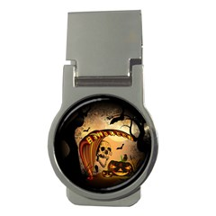 Halloween, Funny Pumpkin With Skull And Spider In The Night Money Clips (round)  by FantasyWorld7