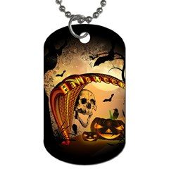 Halloween, Funny Pumpkin With Skull And Spider In The Night Dog Tag (two Sides) by FantasyWorld7