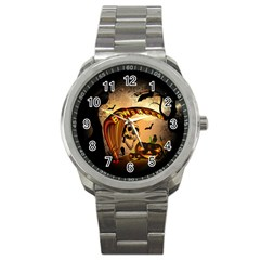 Halloween, Funny Pumpkin With Skull And Spider In The Night Sport Metal Watch by FantasyWorld7
