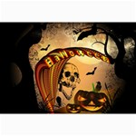 Halloween, Funny Pumpkin With Skull And Spider In The Night Collage Prints 18 x12 Print - 2