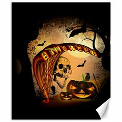 Halloween, Funny Pumpkin With Skull And Spider In The Night Canvas 8  X 10  by FantasyWorld7