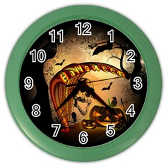 Halloween, Funny Pumpkin With Skull And Spider In The Night Color Wall Clocks by FantasyWorld7