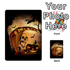 Halloween, Funny Pumpkin With Skull And Spider In The Night Multi Purpose Cards (rectangle)  by FantasyWorld7