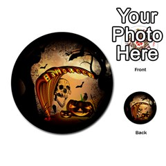 Halloween, Funny Pumpkin With Skull And Spider In The Night Multi Purpose Cards (round)  by FantasyWorld7