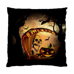 Halloween, Funny Pumpkin With Skull And Spider In The Night Standard Cushion Case (two Sides) by FantasyWorld7
