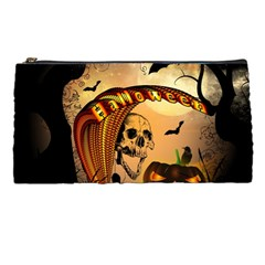 Halloween, Funny Pumpkin With Skull And Spider In The Night Pencil Cases by FantasyWorld7