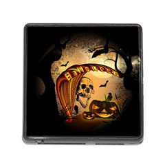 Halloween, Funny Pumpkin With Skull And Spider In The Night Memory Card Reader (square) by FantasyWorld7