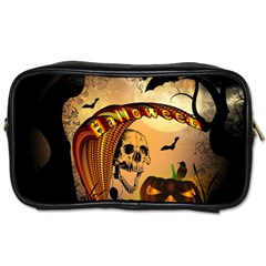 Halloween, Funny Pumpkin With Skull And Spider In The Night Toiletries Bags 2 Side by FantasyWorld7