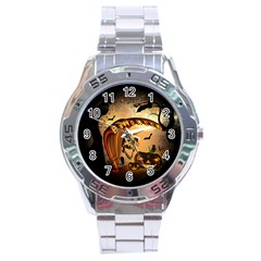 Halloween, Funny Pumpkin With Skull And Spider In The Night Stainless Steel Analogue Watch by FantasyWorld7