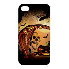 Halloween, Funny Pumpkin With Skull And Spider In The Night Apple Iphone 4/4s Hardshell Case by FantasyWorld7