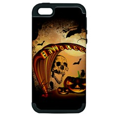 Halloween, Funny Pumpkin With Skull And Spider In The Night Apple Iphone 5 Hardshell Case (pc+silicone) by FantasyWorld7