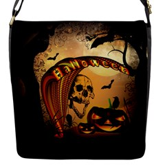 Halloween, Funny Pumpkin With Skull And Spider In The Night Flap Messenger Bag (s) by FantasyWorld7
