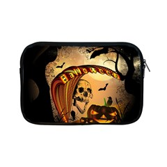 Halloween, Funny Pumpkin With Skull And Spider In The Night Apple Ipad Mini Zipper Cases by FantasyWorld7