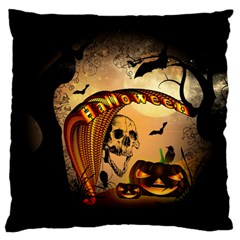 Halloween, Funny Pumpkin With Skull And Spider In The Night Large Flano Cushion Case (two Sides) by FantasyWorld7