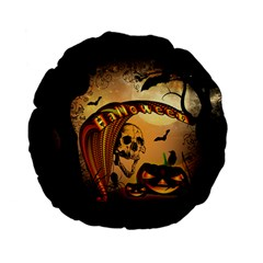 Halloween, Funny Pumpkin With Skull And Spider In The Night Standard 15  Premium Flano Round Cushions by FantasyWorld7