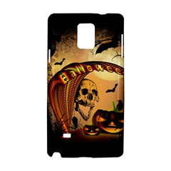Halloween, Funny Pumpkin With Skull And Spider In The Night Samsung Galaxy Note 4 Hardshell Case by FantasyWorld7
