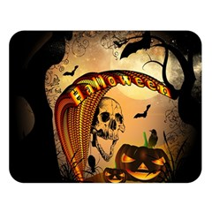 Halloween, Funny Pumpkin With Skull And Spider In The Night Double Sided Flano Blanket (large)  by FantasyWorld7