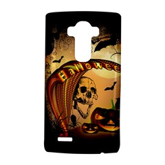 Halloween, Funny Pumpkin With Skull And Spider In The Night Lg G4 Hardshell Case by FantasyWorld7