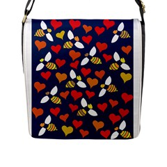 Honey Bees In Love Flap Messenger Bag (l)  by BubbSnugg