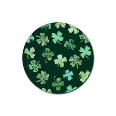 Lucky Shamrocks Rubber Coaster (round)  by BubbSnugg