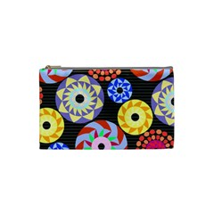 Colorful Retro Circular Pattern Cosmetic Bag (small) by DanaeStudio