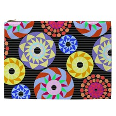 Colorful Retro Circular Pattern Cosmetic Bag (xxl) by DanaeStudio