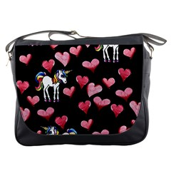 Retro Unicorns Heart Messenger Bags by BubbSnugg