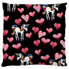 Retro Unicorns Heart Large Cushion Case (two Sides) by BubbSnugg