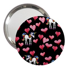 Retro Unicorns Heart 3  Handbag Mirrors by BubbSnugg