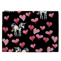 Retro Unicorns Heart Cosmetic Bag (xxl)  by BubbSnugg