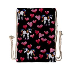 Retro Unicorns Heart Drawstring Bag (small) by BubbSnugg