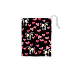 Retro Unicorns Heart Drawstring Pouches (xs)  by BubbSnugg